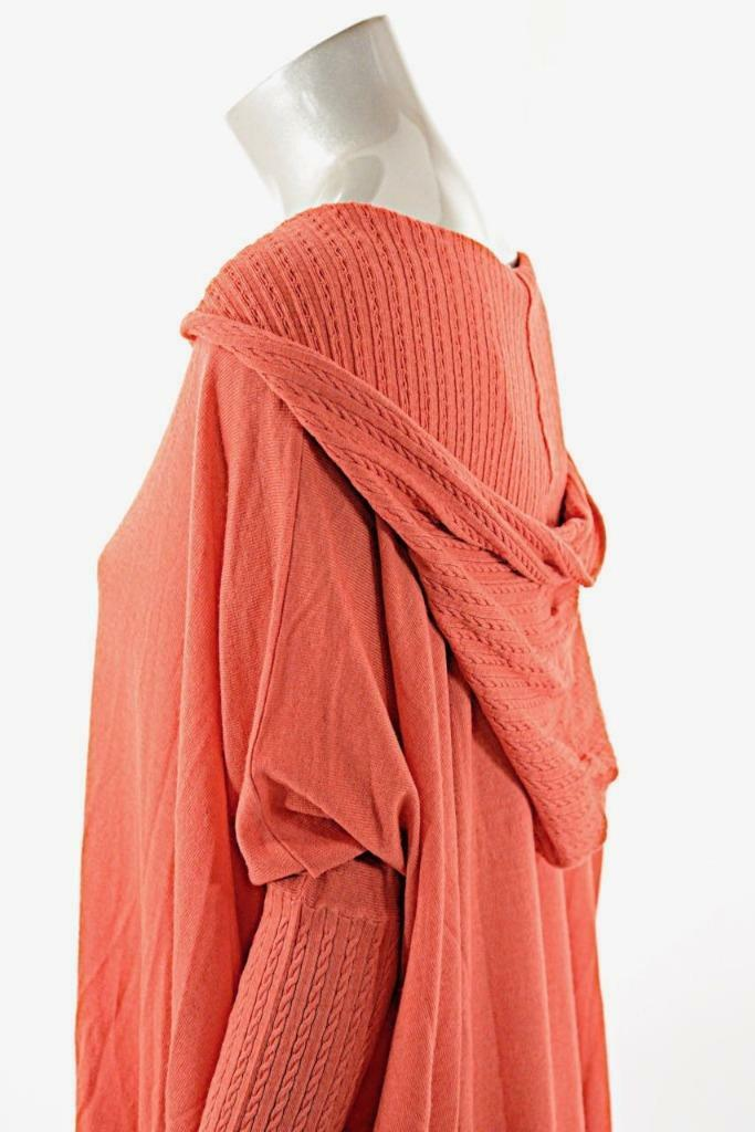 PASHMERE Coral Wool Blend Hooded Tunic Sweater w w w Drawstring Hem NWT M  745 f086fc