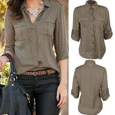 Fashion Women Button Down Shirt Casual Long Sleeve Slim T-shirt Tops Blouse NEW