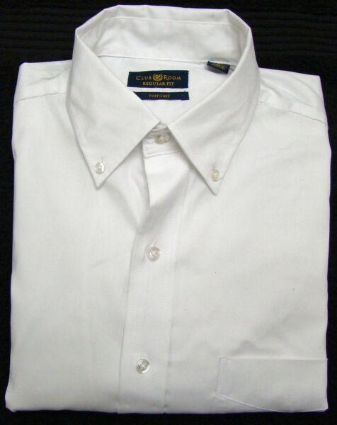 Club Room Bianco Regular Fit Manica Lunga Camicia Vestito - 16 - 32-33