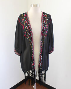 f2d27a322 Image is loading Umgee-Black-Sheer-Floral-Embroidered-Fringe-Open-Kimono-