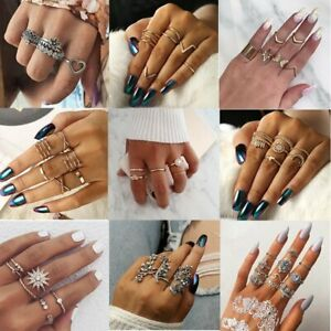 Stone Charm Set Knuckle Gift Simple Cute Band Ring 3pcs//set Midi Finger