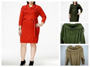 6766a739a00 NY Collection Women s Fringe Cowl-neck Belted Sweater Dress Plus ...