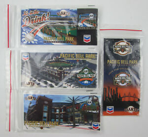 Giants-Pacific-Bell-Park-Inaugural-Year-FOUR-Pin-Set-on-Cards-2000-SF-Chevron