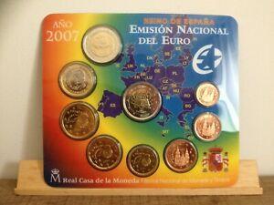 """Coffret BU Euros Espagne 2007 avec 2 euros commémorative """"Traité de Rome"""""""