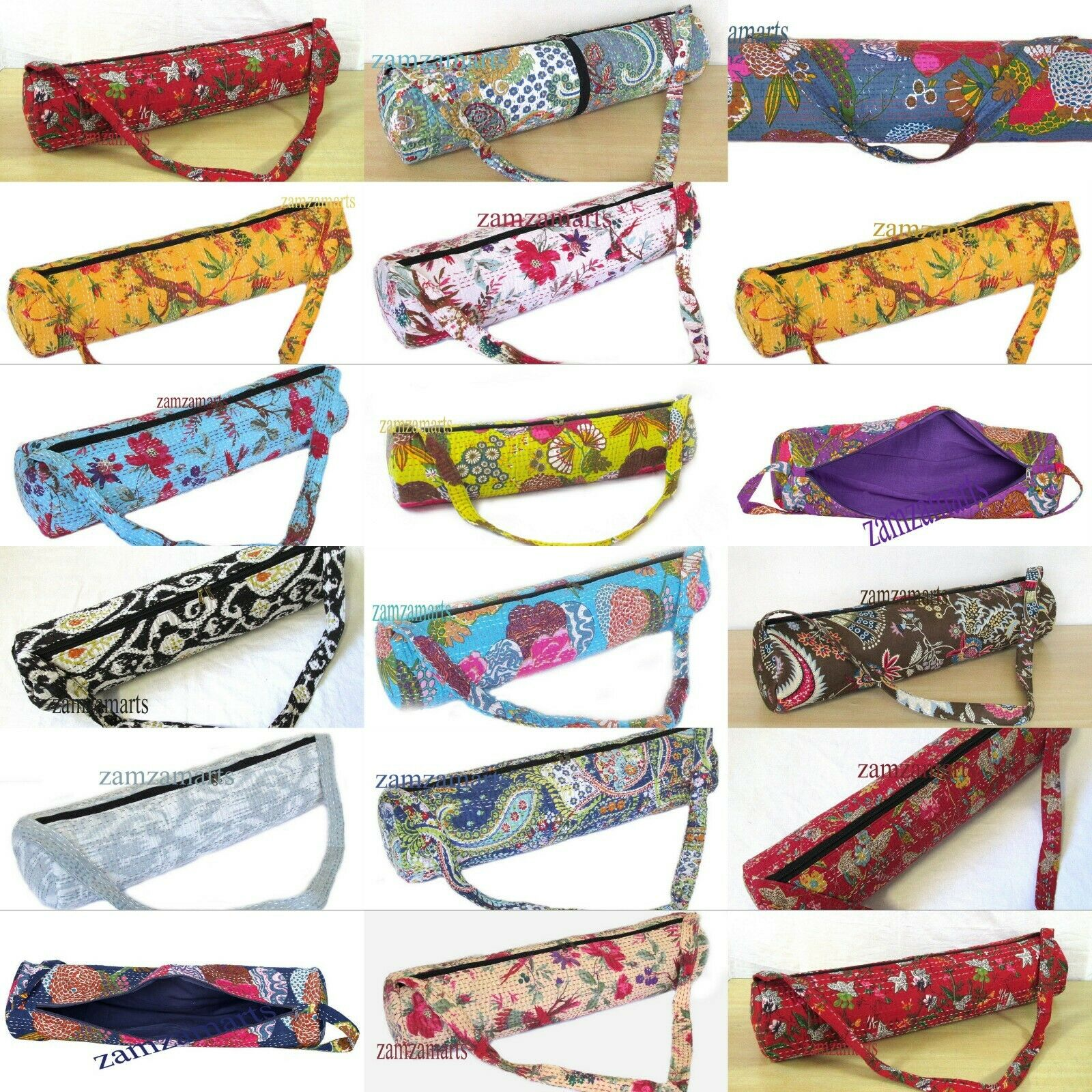 50 PZ. LOTTO INDIAN Handmade Kantha Yoga Mat Carrier Bags con tracolla