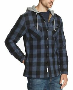 Weatherproof-Mens-Shirt-Jacket-Blue-Size-Medium-M-Hooded-Plaid-Print-MSRP-80