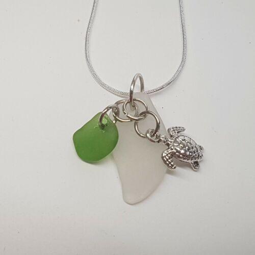 Cornish Jewellery Handmade in Cornwall Turtle Charm and Sea Glass Necklace