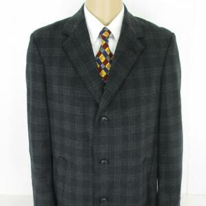 38 R Pronto Uomo Gray Plaid Wool 3 Btn Mens Winter Long Jacket Over Coat Mint