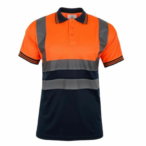 Hommes Polo Hi Vis Highway Workwear Sweat Haute Viz à col shirt Tops