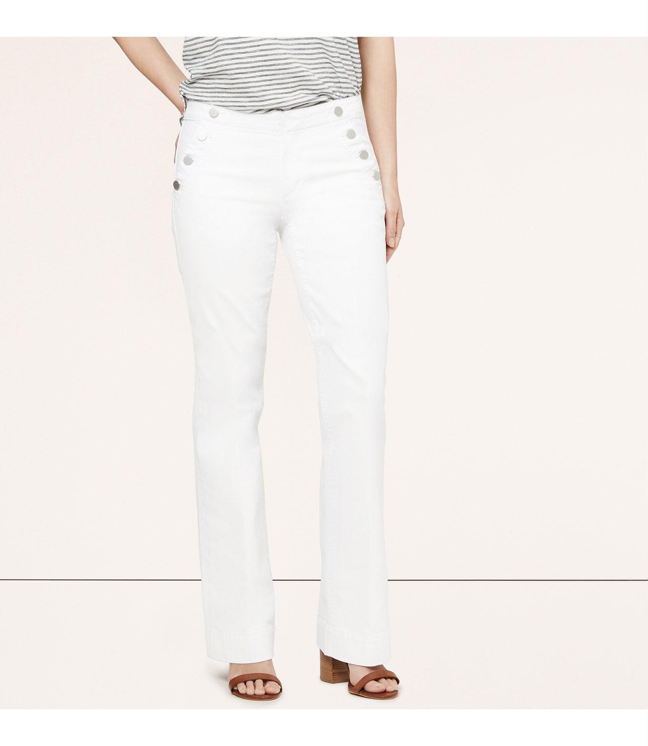 Ann Taylor LOFT Curvy Sailor Trouser Jeans Pants in White Size 31 12P NWT