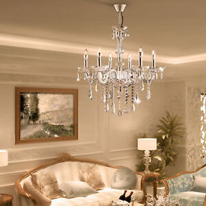 E12 6 Lamp Elegant Crystal Chandelier Lamp Pendant ...