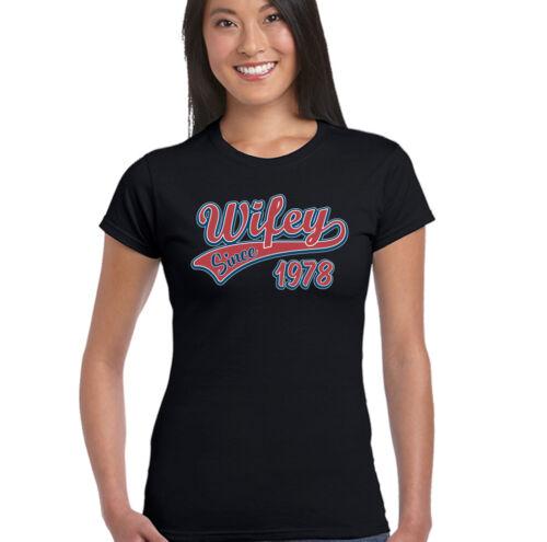 Wifey Since 1978 Damen Lustiges Hochzeitstag T-Shirt Frau Valentinstag
