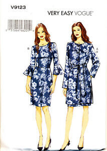 Details about VOGUE SEWING PATTERN 9123 MISSES 6 14 DRESS FLOUNCE SLEEVES, LINED JACKET COAT