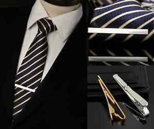 Men-fashion-Necktie-Tie-Bar-Clasp-Clip-Cufflinks-Set-Simple-One-Gold-Silver-HS8