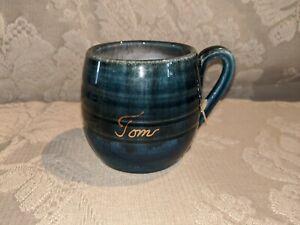 Vintage-Pottery-Creamer-Mug-Ornate-034-Tom-034-INEKE-POTTERY-BLUE-Victoria-BC-Canada