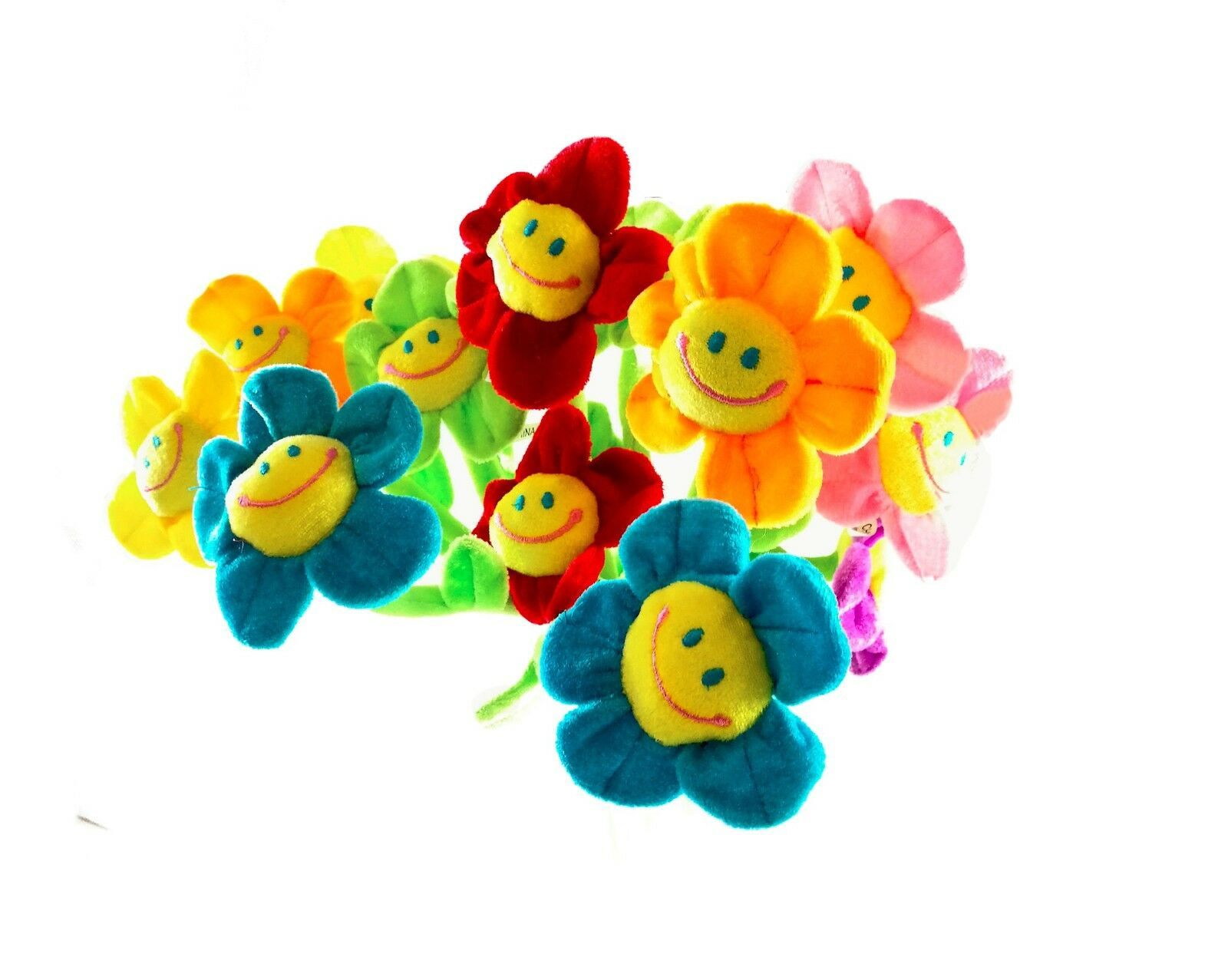 16pcs Bendable Stems Plush Daisy Flowers Smiley Happy Face 13 Inches ...
