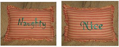 NAUGHTY OR NICE Shelfsitter Pillow, Prim, Christmas, Country, Two-sided