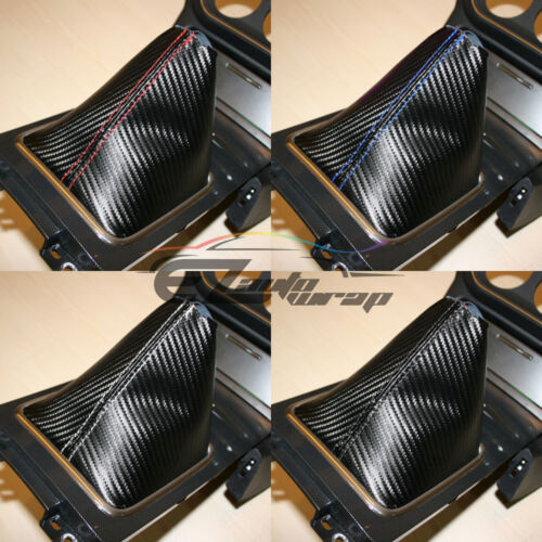 Shift Knob Shifter Boot Cover Black W// White Stitches Carbon Fiber Leather Look