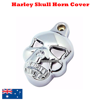 Black Skull Horn Cover For Harley Davidson Softail Dyna Glide Big Twin Electra