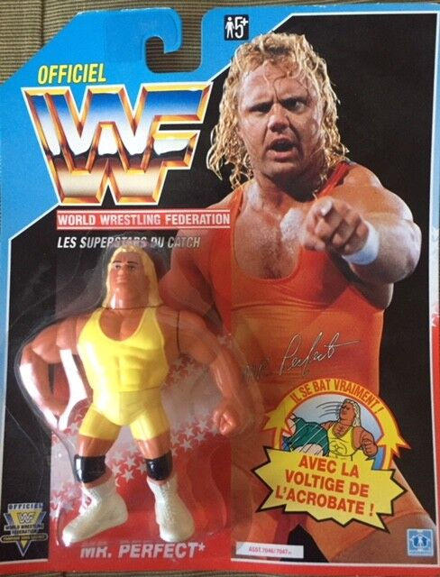 WWF WWF WWF HASBRO MR. PERFECT MOC bluee Card Ultra Rare,  Never Been at Retail  3e0000