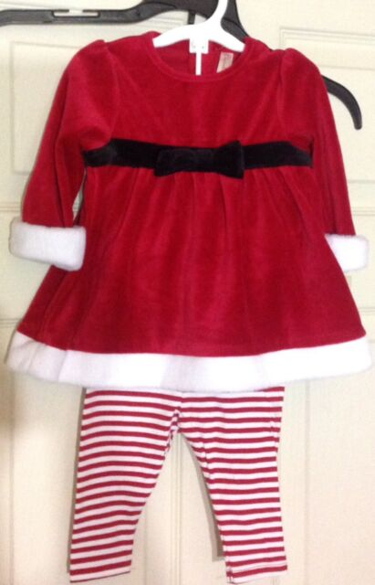 cherokee baby girls christmas red white santa dress and hat size 3 6 months nwt