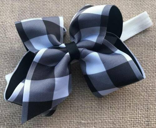Black /& White Buffalo Check Plaid Bow Headband