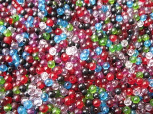 50 abalorios plástico redondo Mix multicolor 6mm 11297