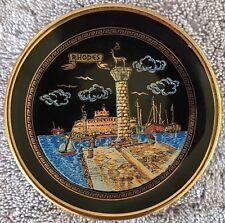 "SPATHAS KERAMIK Souvenir Plate Rhodes  GREECE, 24k Gold, Hand Made 3.5"""