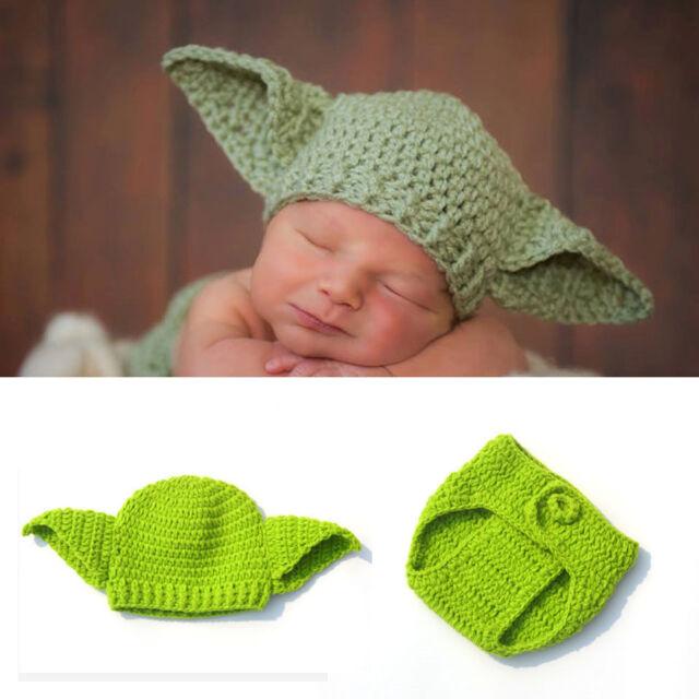 Star Wars Yoda Outfits Crochet Baby/'s Costume Newborn Baby Yoda Photo Props #a