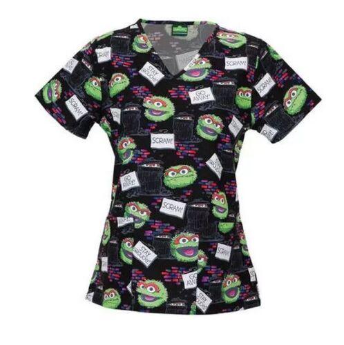 Nurses Scrubs Top Sesame Street Oscar Grouch Scrub Top XS S M L XL 2XL 3XL