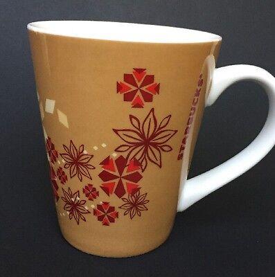 Starbucks Coffee Mug Large Handle 2013 14 oz Cup Tan with Red Flowers Snowflakes