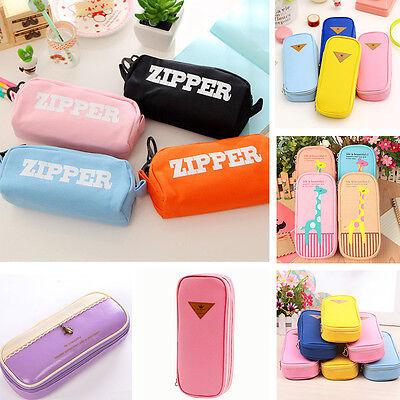 PU Student Women Pen Bag Pencil Case Travel Cosmetic Makeup Bags Box Durable Hot