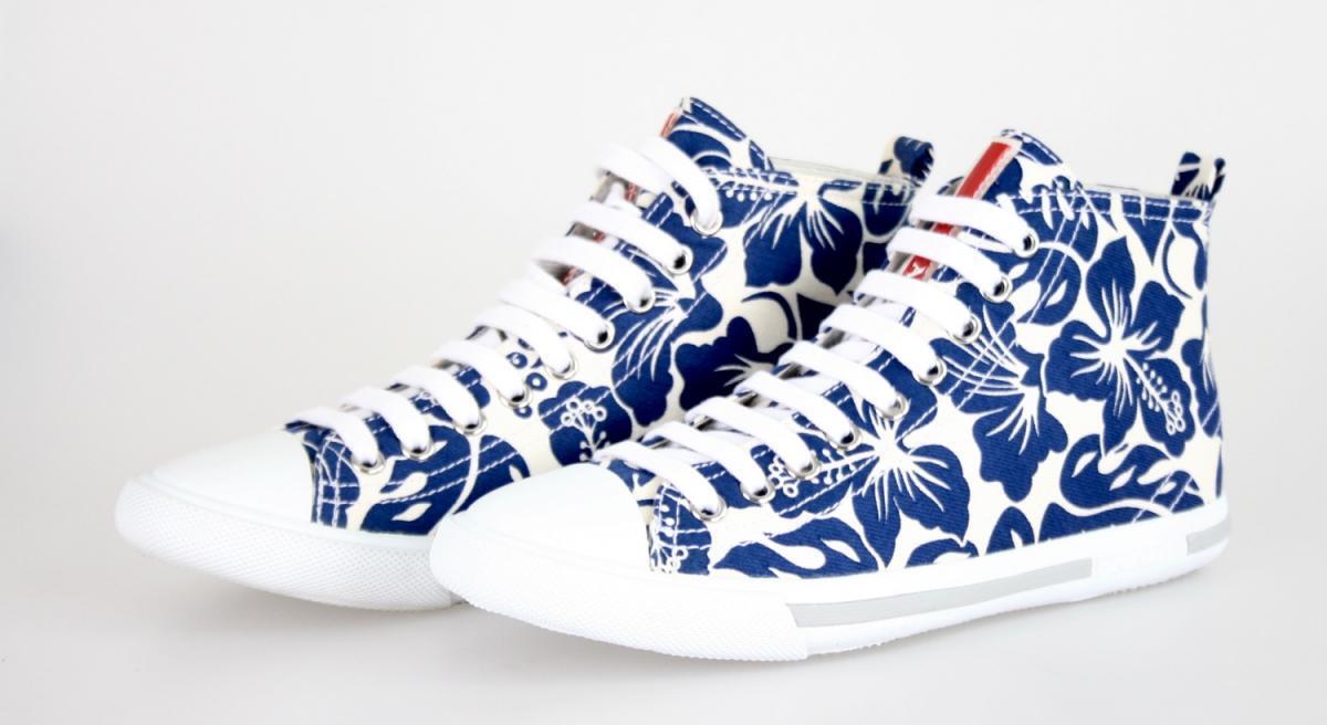 AUTHENTIC PRADA baskets 3T5731 blanc bleu FLORAL FLORAL FLORAL NEW US 9 EU 39 39,5 UK 6 494d26
