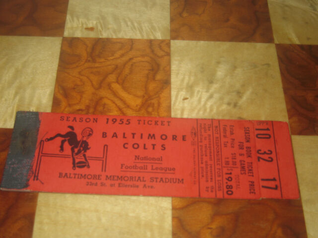 1955 Baltimore Colts Ticket Booklet  (no tickets) National Beer Natty Boh Ad NFL