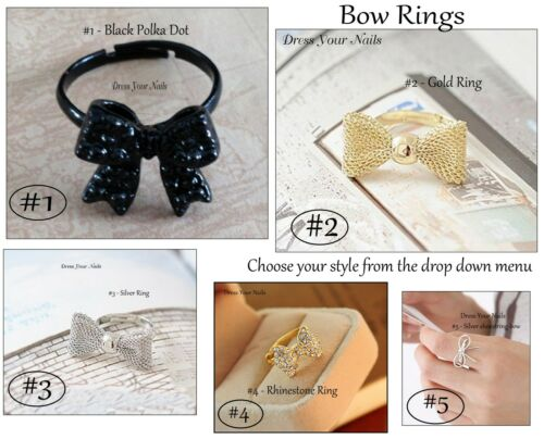Costume Jewellery Ring Bow Knuckle Bowknot Bling Goth Punk Adjustable Fashion