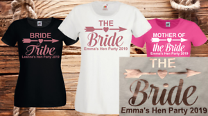 Rose Gold Hen Do Party Bride Tribe  2019  Personalised T-shirt Ladies