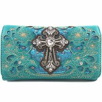 Western Cowgirl Luxurious Wristlet Wallet With Long Strap Cross Body Small Purse