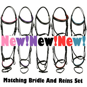 BLACK EQUESTRIAN HORSE RIDING SHOWING REAL LEATHER SNAFFLE FLASH BRIDLE REINS UK