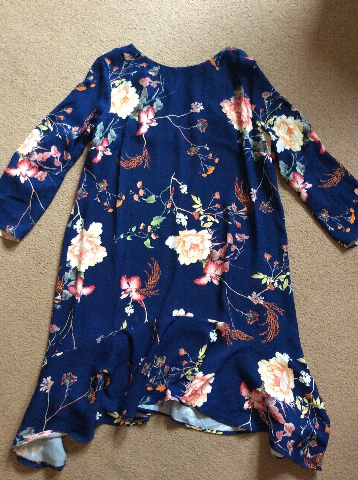 SEXY RIVER ISLAND blueE FLORAL PRINT 3 4 SLEEVE SHORT SMART DRESS SIZE 10 12
