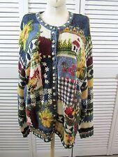 VTG 90's Blue Yellow Artsy Odd Strange Floral Farm Hand Knit Oversized Sweater M