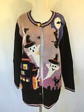 Storybook Knits Halloween Sweater Purple Black Ghosts Witches Embroidery Medium