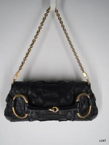 Gucci-Clutch-Handbag-Purse-Small-Black-Snakeskin-Reptile-Gold-Chain-Horsebit