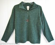 VICTORIA'S SECRET COUNTRY 1/2 Zip Sweater Pullover Sz S Forest Green Embroidered