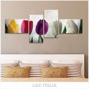 Tulipani vintage 4 quadri moderni 170x70 fiori shabby for Quadri arredamento casa