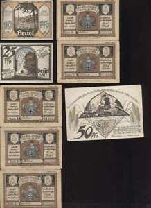 53251-Notgeld-Gutschein-Brueel-1922-10-25-50-50-PF-1-2-3-5-Mark