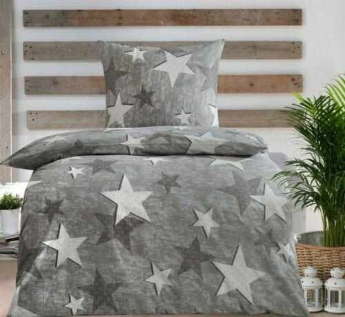 4tlg Bettwäsche Renforce Baumwolle 135x200 Kissen Bezug 80x80 Grau Silber STAR