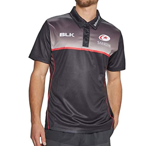 32a31c9fbe4 Saracens 17 18 Players Rugby Polo Collar Tshirt Tee Mens SS BLK Allianz  Size L