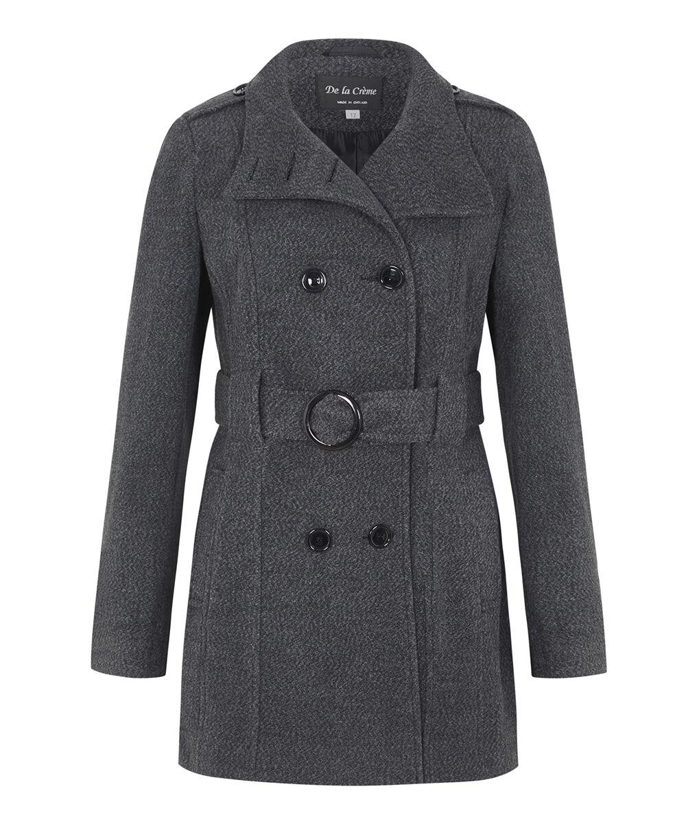 De La Creme - Womens Winter Wool & Cashmere Wrap Coat With Large Collar