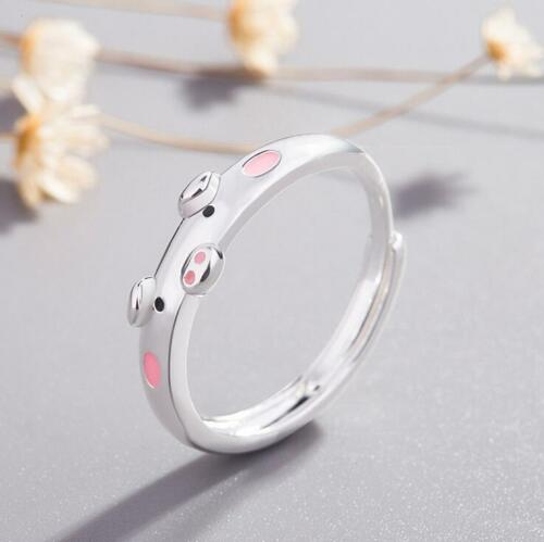 Couples Fashion Cute Pig Silver Plated Metal Ring Open Adjustable Jewelry Gift