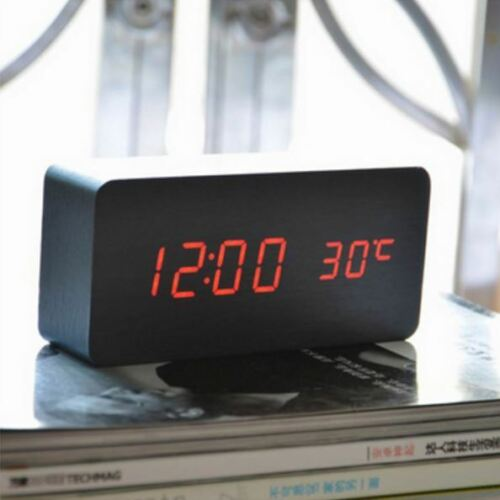 Digital Wood Wooden Snooze Alarm Clock Sound Control LED Display w// Temperature